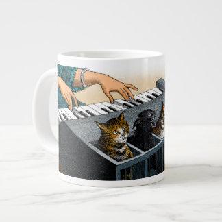 El piano del gato tazas extra grande