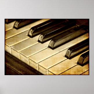 El piano del vintage cierra el poster póster