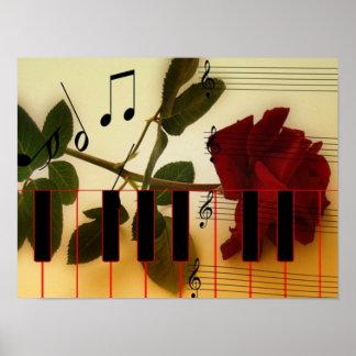 El piano musical romántico cierra el poster