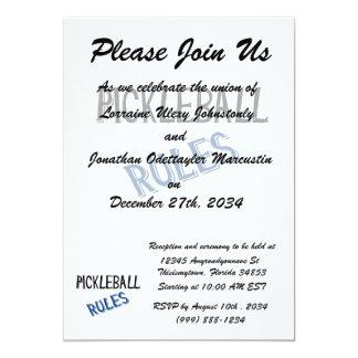 """el pickleball gobierna la bola azul negra de la invitación 5"""" x 7"""""""