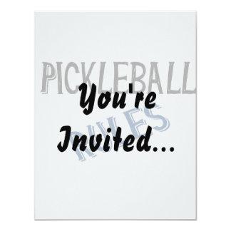 """el pickleball gobierna la bola azul negra de la invitación 4.25"""" x 5.5"""""""