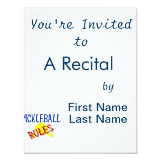 """el pickleball gobierna la paleta amarilla azul invitación 4.25"""" x 5.5"""""""