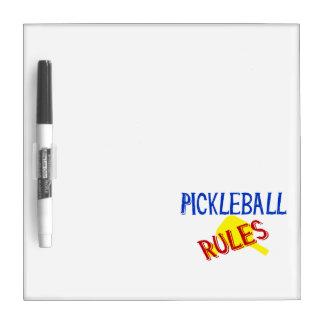 el pickleball gobierna la paleta amarilla azul pizarra blanca