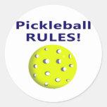 el pickleball gobierna la versión de texto azul pegatina redonda
