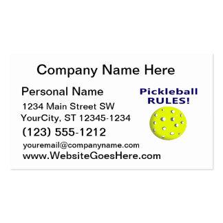 el pickleball gobierna la versión de texto azul tarjetas personales