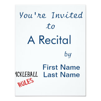 """el pickleball gobierna rojo negro del bernice invitación 4.25"""" x 5.5"""""""