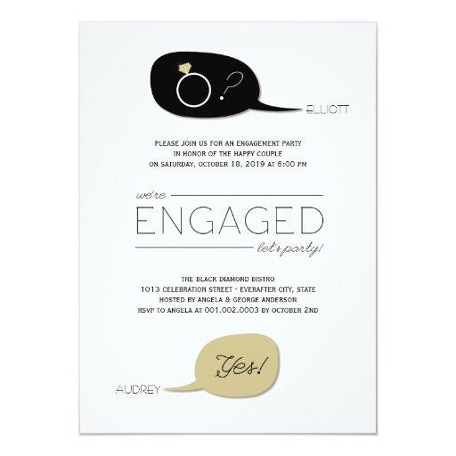 ¡Él pidió y ella dijo sí! Fiesta de compromiso Invitación