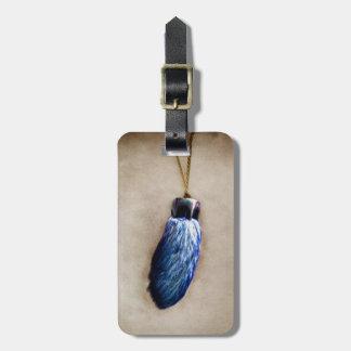 El pie de conejo afortunado azul etiquetas para maletas