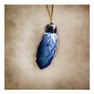 El pie de conejo afortunado azul arte con fotos