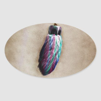 El pie de conejo afortunado colorido pegatina óval personalizadas
