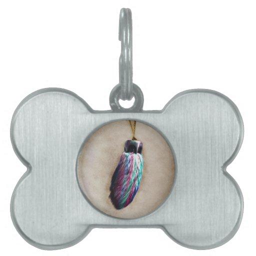El pie de conejo afortunado colorido placas mascota