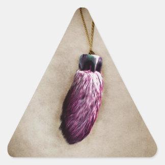 El pie de conejo afortunado rosado pegatina triangulo personalizadas