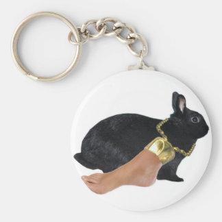 El pie humano afortunado del conejo llavero redondo tipo pin