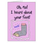 El pie quebrado consigue la tarjeta de papel pront