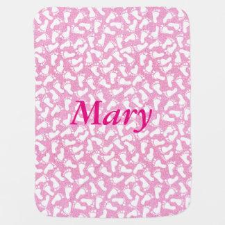 El pie rosado personalizado del brillo imprime la mantas de bebé