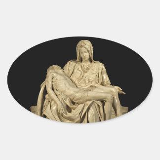 El Pieta de Miguel Ángel Pegatina Ovalada