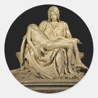 El Pieta de Miguel Ángel Pegatina Redonda