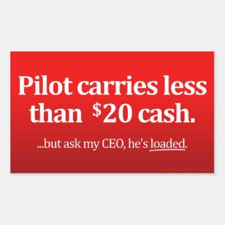 El piloto lleva menos el efectivo de $20 pegatina rectangular