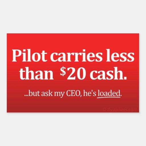 El piloto lleva menos el efectivo de $20 pegatinas