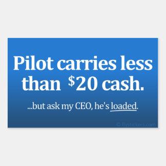 El piloto lleva menos el efectivo de $20 rectangular altavoces