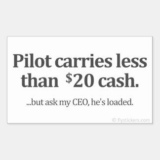El piloto lleva menos el efectivo de $20 rectangular pegatinas