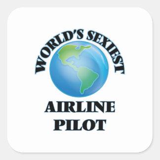 El piloto más atractivo de la línea aérea del pegatina cuadrada