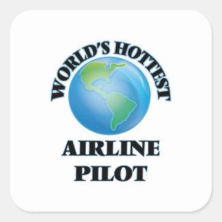 El piloto más caliente de la línea aérea del mundo pegatina cuadrada