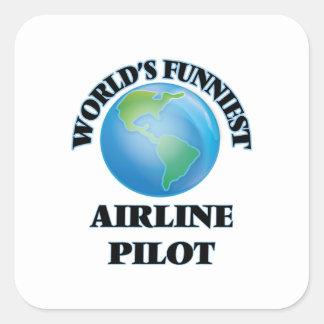 El piloto más divertido de la línea aérea del pegatina cuadrada