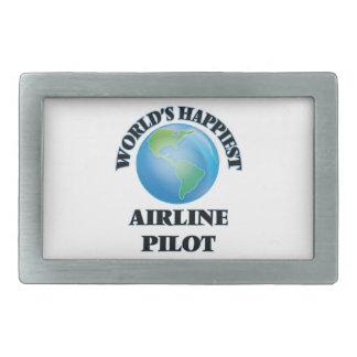 El piloto más feliz de la línea aérea del mundo hebilla de cinturón rectangular