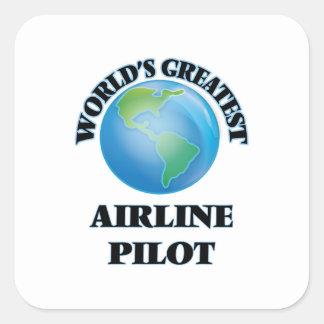 El piloto más grande de la línea aérea del mundo pegatina cuadrada