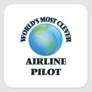 El piloto más listo de la línea aérea del mundo pegatina cuadrada