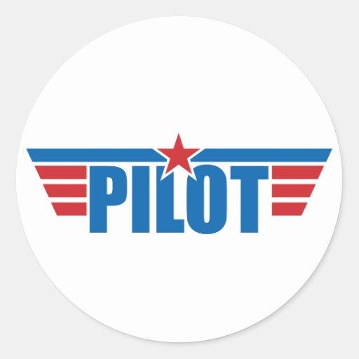 El piloto se va volando la insignia - aviación pegatina