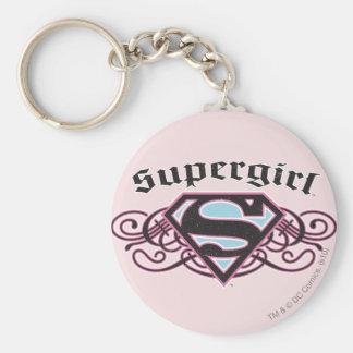 El Pin de Supergirl pela negro y rosa Llaveros