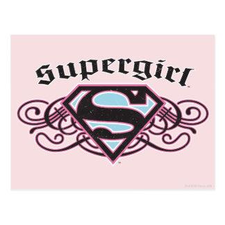 El Pin de Supergirl pela negro y rosa Tarjeta Postal