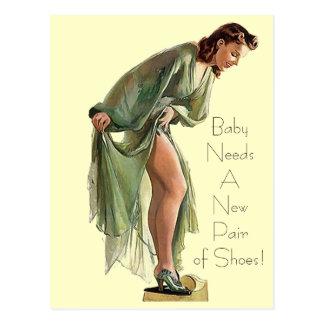 El Pin-para arriba retro del vintage calza la Postal