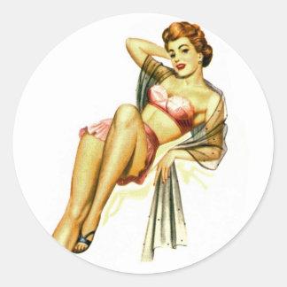El Pin retro del kitsch del vintage encima del chi Pegatinas