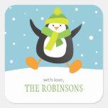 El pingüino ama a los pegatinas cuadrados del colcomania cuadrada