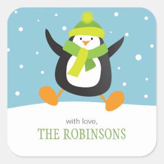 El pingüino ama a los pegatinas cuadrados del pegatina cuadrada