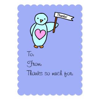 """El pingüino con el corazón le agradece invitación 5"""" x 7"""""""