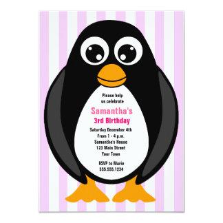 """El pingüino de encargo lindo de la fiesta de invitación 4.5"""" x 6.25"""""""