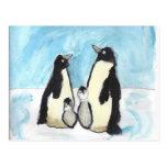 El pingüino de la acuarela embroma arte postales