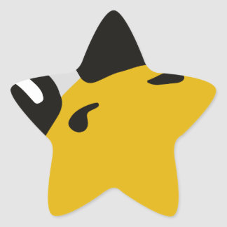 el pingüino del tux del linux observa el retrato pegatina en forma de estrella