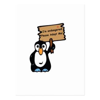 El pingüino en peligro pide la adopción postales