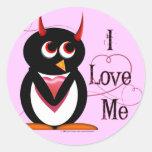 El pingüino I ME AMA los pegatinas Etiqueta Redonda