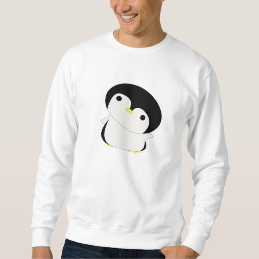 El pingüino lindo de Kawaii dice hola la camiseta Suéter