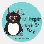 El pingüino malvado hizo que lo hace los pegatinas etiquetas redondas