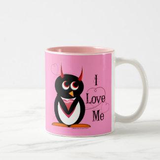 El pingüino malvado I ME AMA taza