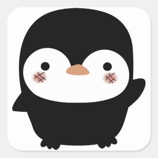 el pingüino pegatina cuadradas personalizadas