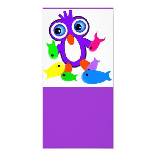 El pingüino púrpura diseñó la marca de libro tarjeta fotográfica