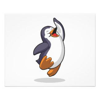 El pingüino que salta en el entusiasmo tarjeta publicitaria
